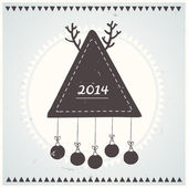 Poster Hipster New Year and Merry Christmas. Vector illustration. — Stock vektor
