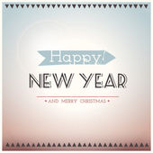 Poster Hipster New Year and Merry Christmas. Vector illustration. — Stock Vector