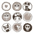 Hand drawn mexican skulls with flowers and hearts. — Stock Vector