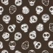 Seamless pattern with mexican skulls — Stock Vector
