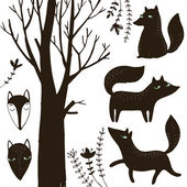 Graphic with silhouette of sly foxes and floral. — Stock Vector