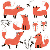 Graphic with sly foxes and floral. — Stock Vector