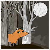 Sly fox walks in the woods at night — Stock Vector