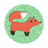 Sly fox walks on a glade. — Stock Vector