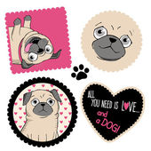 Pugs and hearts. — Stock Vector