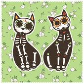 Kartkę z życzeniami z kotów, szkielety i tle kwiatów. — Wektor stockowy