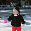 Infant girl in the snow — Stock Photo