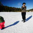 Filming in the snow — Stock Photo