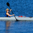 Cute young woman kayaking in California — Stockfoto