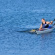 Kayaker emerges from water — Stock Photo