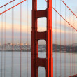 Stock Photo: Golden Gate Bridge, sunset, North Tower