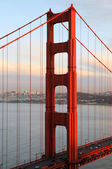 Golden Gate Bridge, sunset, North Tower — Stock Photo