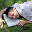 Man sleeping on the lawn — Stock Photo