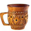 Carved wooden mug — Stock Photo