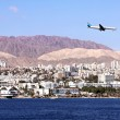 Plane  in the sky over Eilat — Stock Photo