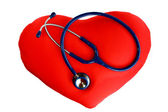 Stethoscope on the heart — Stock Photo