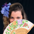 The girl with a fan  — Stockfoto