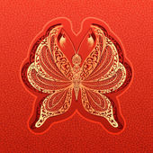 Vector paper butterfly illustration — Stock Vector