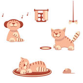 Funny cats in flat style — Stock Vector