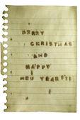 Wesołych świąt i szczęśliwego nowego roku retro starodawny uwaga — Zdjęcie stockowe