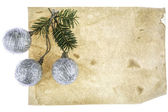 Christmas card with blank space and three christmas tree toys — Foto de Stock