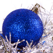 Blue christmas ball with tinsel — Stock Photo #36032603