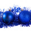 Blue christmas ball with tinsel — Stock Photo #36032621
