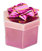 Pink box and ribbon on white backgrounds — Stok fotoğraf