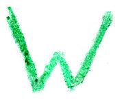 W letter painted on a white background — Stock Photo