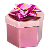 Pink box and ribbon on white backgrounds — Φωτογραφία Αρχείου