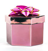 Pink box and ribbon on white backgrounds — Photo