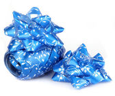 Shiny blue satin ribbon — Stock Photo