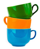 The pile of colorful ceramic mugs — Stock Photo