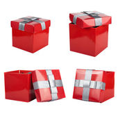 Red box and ribbon on white backgrounds — Stok fotoğraf