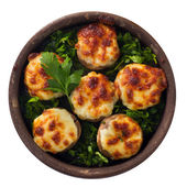 Delicious stuffed mushrooms with meat and cheese — Stock Photo