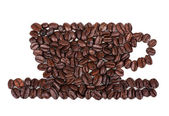 Roasted coffee beans placed in the shape of a cup — Stock Photo