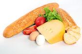 Stokbrood op wit — Stockfoto