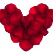 Beautiful heart of red rose petals — Stock Photo