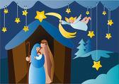 Julafton med ängel — Stockvektor