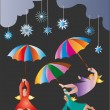Flying umbrellas — Image vectorielle
