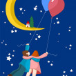 Flying sweethearts to moon — Stockvektor #39057205