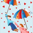 Raining hearts — Vector de stock #39057229