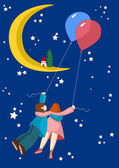 Flying sweethearts to the moon — Vector de stock