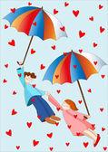 Raining hearts — Stock Vector