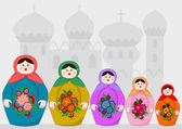 Russian dolls — Stock Vector