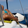 Sunbathing on the bow — Stock Photo