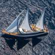 Cruising yacht with sails — Stock Photo