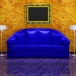 Blue sofa and picture frames in abstract interior ( 3d rendering ) — Stock Photo