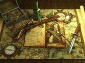 Old money and weapons on the vintage map ( 3d rendering ) — Stock Photo