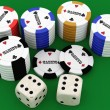 Poker chips and two dice ( 3d rendering ) — Stock Photo #37101063